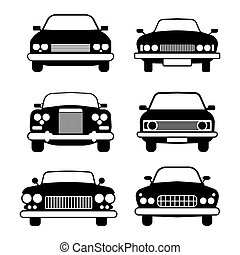 set of different car symbols front view - Modern and vintage...
