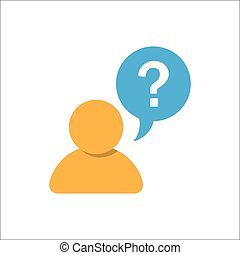 Pictograph, FAQ question, of question mark and man. Vector...