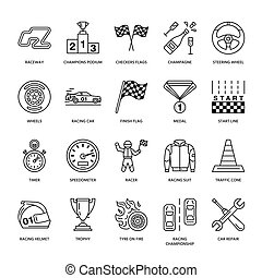 Car racing vector line icons. Speed auto championship signs - track, automobile, racer, helmet, checkers flags, steering wheel. Linear pictogram set with editable stroke sport event, fan store.