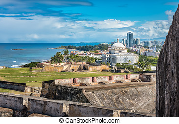 View from Castillo de San Cristobal toward town with view of...