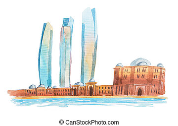 View of Abu Dhabi in the United Arab Emirates waterclor illustration