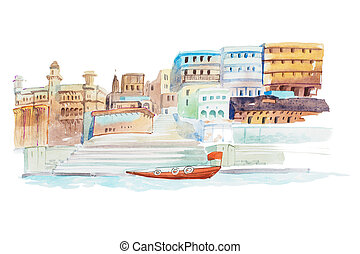 Houses on coastline of the river watercolor illustration. -...