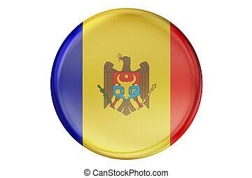 Badge with flag of Moldova, 3D rendering isolated on white...