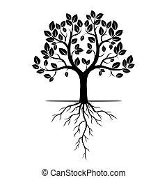 黑色, 矢量, 樹, 插圖, 根