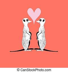 Vector meerkats in love - vector funny meerkats in love with...