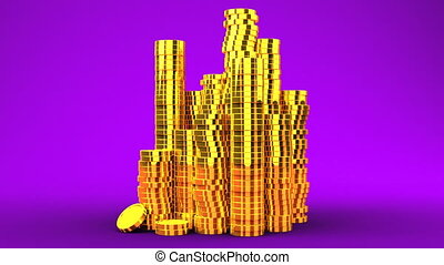 Gold Coins On Purple Background 3DCG render Animation.
