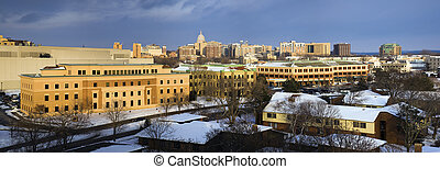 Panoramic view of Madison, Wisconsin, USA Winter time