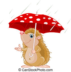 Hedgehog under umbrella presenting - Cute little Hedgehog...
