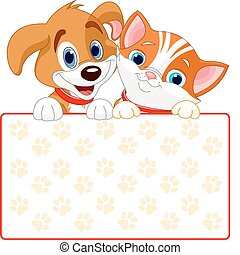 Cat and dog sign - Cat and dog holding sign add your own...