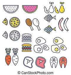 Line style food vector icons.