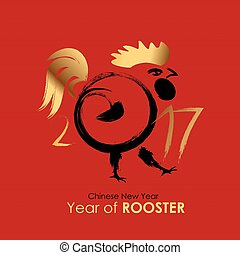 Chinese Calendar for the 2017 Year of Rooster. Vector...