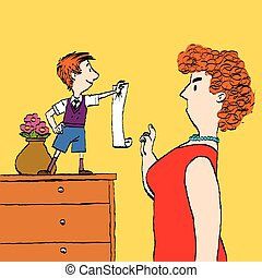 Capricious little child, the list of requirements. cartoon...