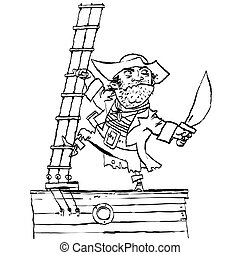 Brave pirate is on Board the ship, cartoon style vector...