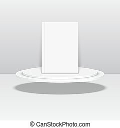 Empty blank oval hovering on the podium. Vector pedestal....