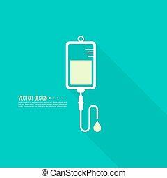 Vector iv bag icon. Saline symbol on background. The concept...