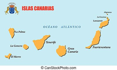 canary islands map with coat of arms