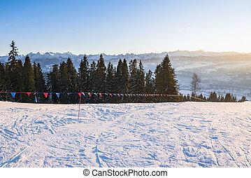 montagne, pomeriggio, inverno, paesaggio,  tatra