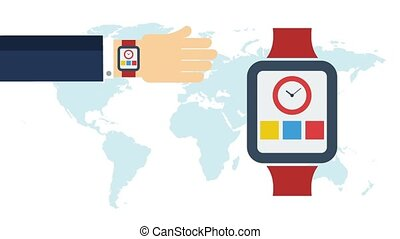 Presentation of smart watches on hands - Video animation of...