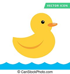Duck rubber toy yellow color flat vector icon, cartoon flat...