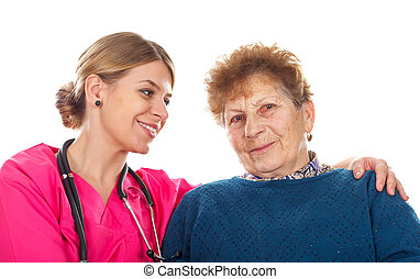 Elderly care - Picture of an elderly woman with her...