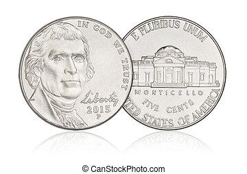 centavos, cinco, moneda, níquel