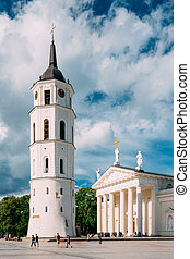 Vilnius Lithuania. Bell Tower And Cathedral Basilica Of St....