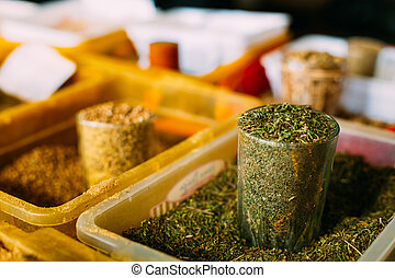 Close Full Glass Tray Of Crushed Dried Rosemary Leaves,...