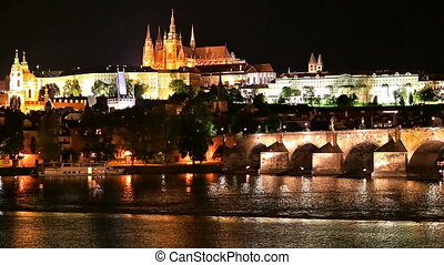 Night scenery of Prague, Czech Republic - Scenic night...