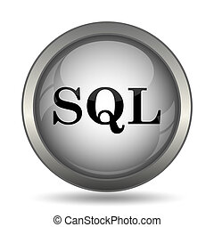 SQL icon, black website button on white background.