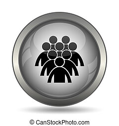 Group of people icon, black website button on white...