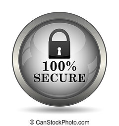 100 percent secure icon, black website button on white...