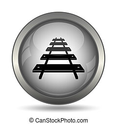 Rail road icon, black website button on white background.