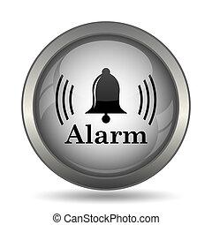 Alarm icon, black website button on white background.