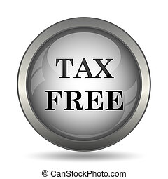 Tax free icon, black website button on white background.