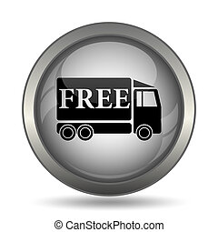 Free delivery truck icon, black website button on white...