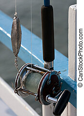 Ocean Fishing Reel - Close up detail of a bait casting deep...