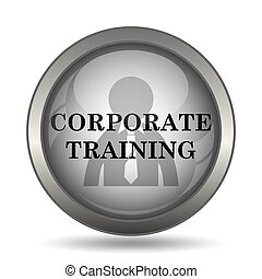 Corporate training icon, black website button on white...