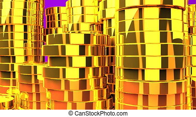 Gold Coins On Purple Background - 3DCG render Animation.