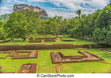 Sri Lanka: ancient Lion Rock fortress in Sigiriya or...