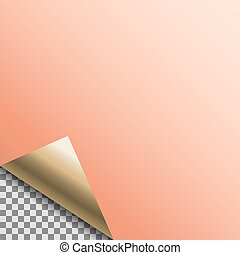Curled copper foil blank vector tag.