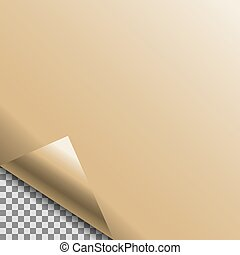 Curled gold foil blank vector tag.