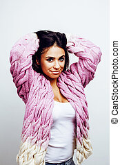 young happy smiling latin american teenage girl emotional posing on white background, lifestyle people concept