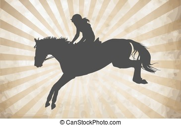 Horsewoman - vector illustration, rider controls running...