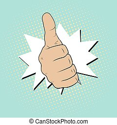 Gesture Like. Thumbs up . Illustration in pop art style