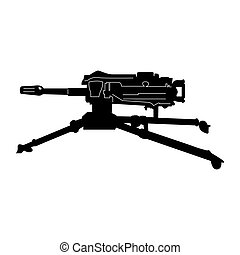 Isolated weapon - Isolated machine gun silhouette on a white...