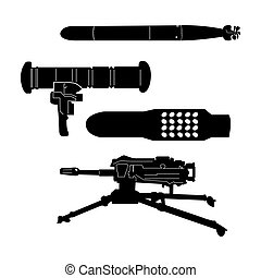 Set of weapons - Isolated set of different weapons, Vector...