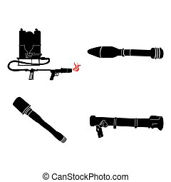 Set of weapons - Set of silhouettes of different weapons,...