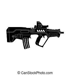 Isolated weapon - Isolated silhouette of a rifle, Vector...