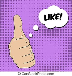 Gesture Like. Thumbs up and a speech bubble. Vector...