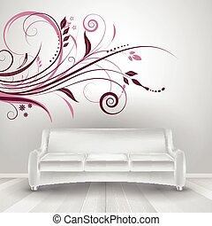 interior with sofa showing wall decal - Room interior with...
